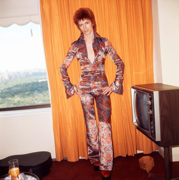 Bowie stunned audiences with his androgynous looks in the 1970s. Getty