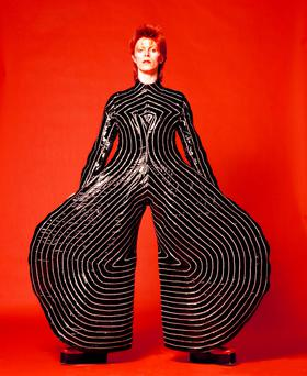 A striped bodysuit designed for David Bowie by Kansai Yamamoto for the Aladdin Sane tour in 197. Photo credit: V&A/PA Wire