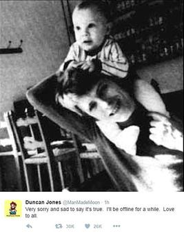 An image taken from the Twitter feed of Duncan Jones of a tribute he paid yesterday to his father David Bowie, who died after suffering cancer for 18 months. Photo: Duncan Jones