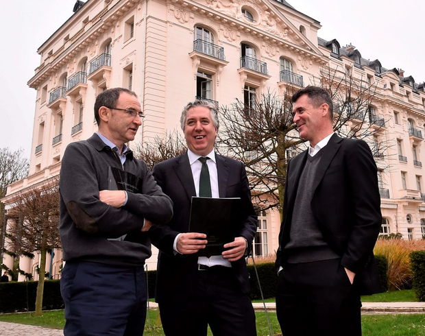 19 December 2015; Republic of Ireland manager Martin O'Neill with FAI Chief Executive John Delaney and assistant manager Roy Keane, outside the Trianon Palace Versailles, where the Republic of Ireland squad will stay as part of their basecamp facilities for UEFA Euro 2016. Versailles, France. Picture credit: David Maher / SPORTSFILE