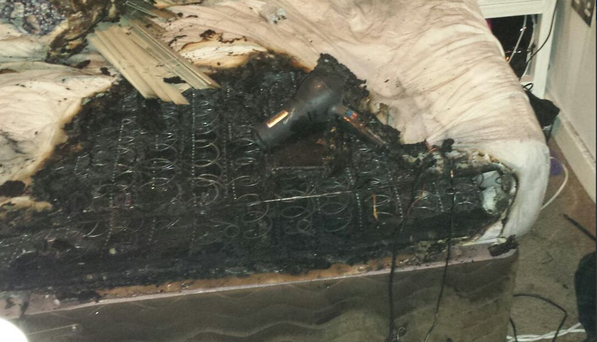 The damage caused by a phone charger fire in Dublin last month