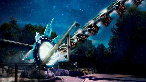 The new rollercoaster on which passengers wear virtual reality headsets. Photo: Alton Towers Resort/PA Wire