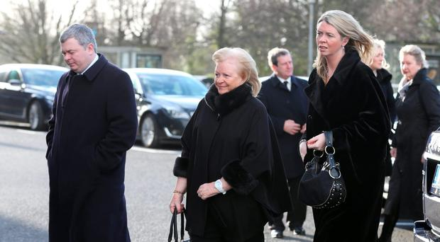 Christy O'Connor's wife Ann, daughter Ann and son Nigel at his funeral. Photo: Steve Humphreys