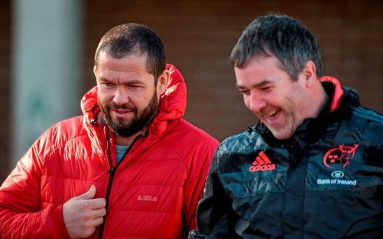 Munster head coach Anthony Foley in conversation with temporary consultant Andy Farrell before squad training. University of Limerick, Limerick. Picture credit: Diarmuid Greene / SPORTSFILE
