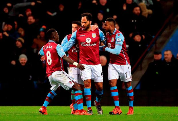 Aston Villa's Joleon Lescott celebrates scoring his side's winning goal at Villa Park,