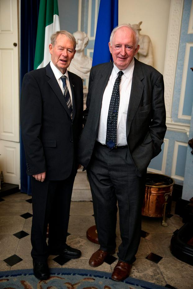 Mícheál Ó Muircheartaigh with Brian McCarthy, Kerry person of the year, at the Kerry Person of the Year Awards at Iveagh House in Dublin. Picture: Arthur Carron
