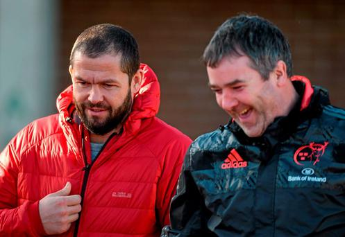 Munster head coach Anthony Foley shares a joke with incoming defensive coach Andy Farrell (left) in Limerick yesterday. Photo: Diarmuid Greene / Sportsfile