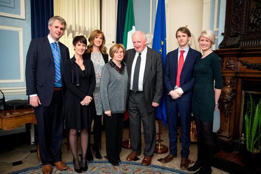 Brian McCarthy, Kerry person of the year, with his wife Mary and children Denis, Susan, Ruth, John and Liz at the Kerry Person of the Year Awards at Iveagh House in Dublin