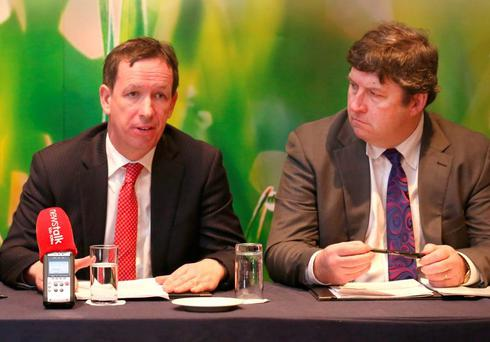 IFA national chairman Jer Bergin and deputy president Tim O'Leary at the launch of IFA's Election Submission for the 2016 General Election in Dublin. Photo: Finbarr O'Rourke