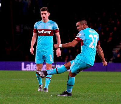 Dimitri Payet scores West Ham United's first and equalising goal during their 3-1 win over Bournemouth. Photo: Ian Walton/Getty Images