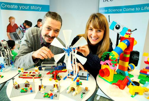 Dan Gilbert, of IT Services at DCU, and Nicola Broderick, of the Science Education Department, at the announcement of the flagship Lego Education Innovation Centre. Photo: Maxwells