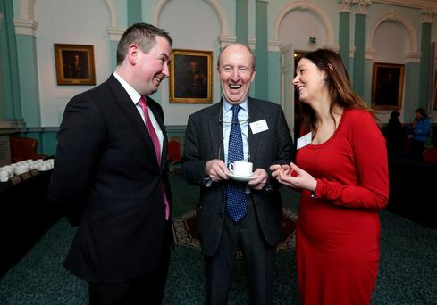 Shane Ross (centre) with Independent candidates David McGuinness, and Cllr Deirdre O'Donovan. Photo: Damien Eagers