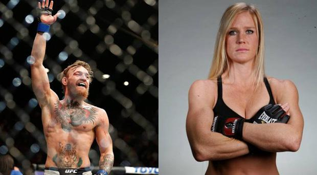 Conor McGregor, left, and Helly Holm