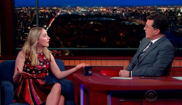 Saoirse Ronan teaches Stephen Colbert how to do an Irish accent