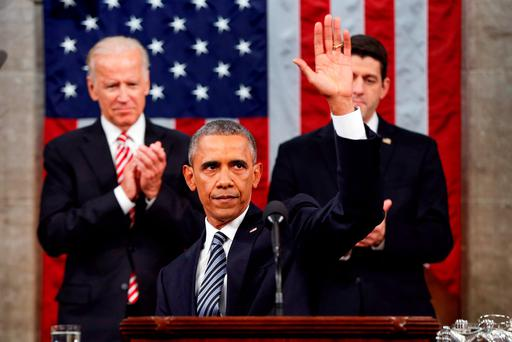 President Barack Obama waves at the conclusion of his State of the Union address to a joint session of Congress on Capitol Hill in Washington. (AP Photo/Evan Vucci, Pool)
