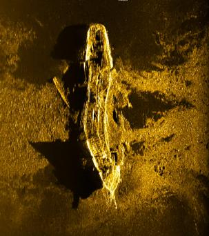 Sonar image released by Joint Agency Coordination Centre (JACC) shows an iron or steel-hulled shipwreck believed to have gone down at the turn of the 19th century. Photo: AFP/Getty Images
