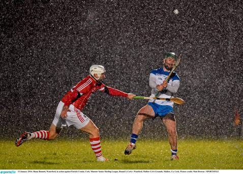 Shane Bennett, Waterford, in action against Patrick Cronin, Cork. Munster Senior Hurling League, Round 3, Cork v Wateford, Mallow GAA Grounds, Mallow, Co. Cork. Picture credit: Matt Browne / SPORTSFILE