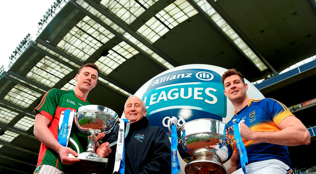 Pictured at yesterday's announcement in Croke Park that Allianz is to continue its sponsorship of the national hurling and football leagues for another five years were, from left, Mayo footballer Diarmuid O'Connor, former Meath manager Sean Boylan and Tipperary hurler Seamus Callanan. Picture credit: Brendan Moran / SPORTSFILE