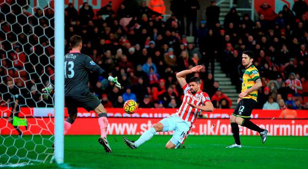 Stoke City's Jonathan Walters (centre) scores his side's opener