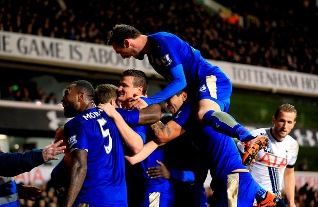 Leicester City's Robert Huth (centre) celebrates scoring his side's winner
