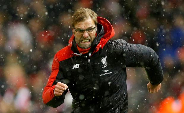 Liverpool manager Juergen Klopp celebrates after Joe Allen (not pictured) scores their third goal Action Images via Reuters / Carl Recine