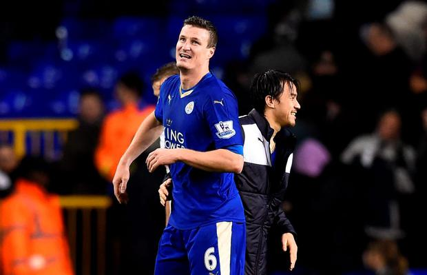 Robert Huth headed Leicester in front from Christian Fuchs' corner: Reuters / Dylan Martinez