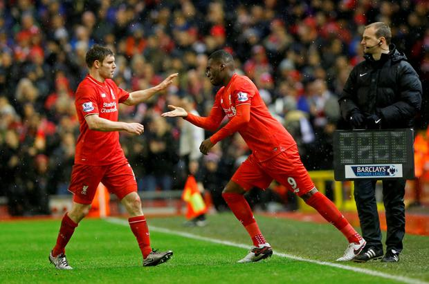Liverpool's Christian Benteke comes on as a substitute for James Milner