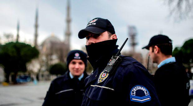 Turkish police officers stand guard. File picture