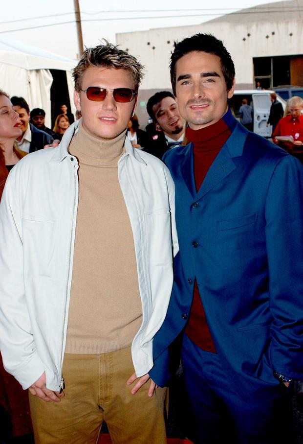 Nick Carter and Kevin Richardson of Backstreet Boys attend the 29th Annual American Music Awards at the Shrine Auditorium January 9, 2002 in Los Angeles, CA. (Photo by Vince Bucci/Getty Images)