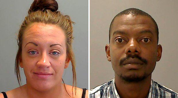 Alyshia Newton (left) and Victor Chokor, who have both been jailed after Newton filmed Chokor sexually assaulting another woman while laughing in the background