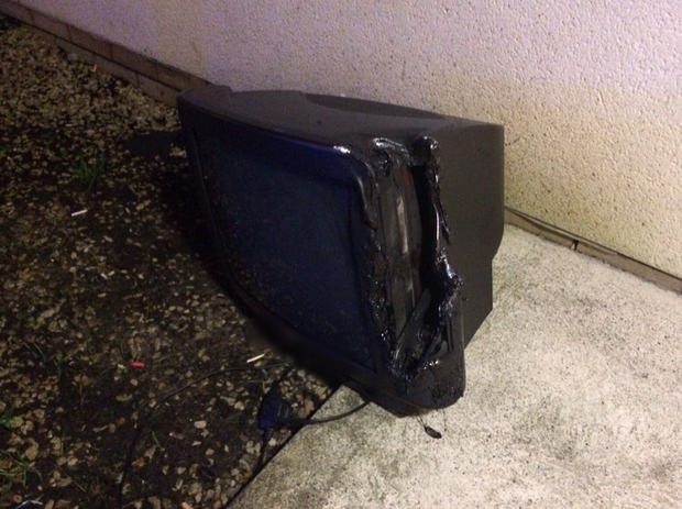 The remains of a charred television that caught fire last night Credit:Twitter/@DublinFireBrigade