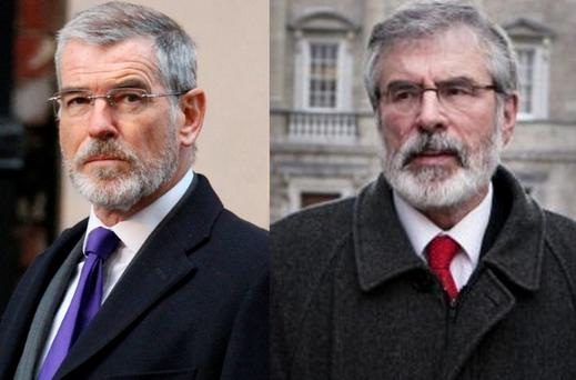 (Left) Pierce Brosnan bears a striking resemblance to Gerry Adams while filming in London on Wednesday and (right) Gerry Adams in 2014. Pictures: Rex Features/Tom Burke, Irish Independent