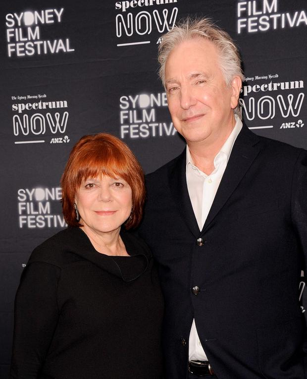 Actors Alan Rickman (R) and Rima Horton attend the Australian premiere of 'A Little Chaos' presented by the Sydney Film Festival and Spectrum Now at The Cremorne Orpheum on March 12, 2015 in Sydney, Australia. (Photo by Mark Sullivan/WireImage)