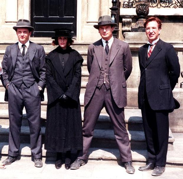 Actors in the Michael Collins film, Aidan Quinn, Julia Roberts, Liam Neeson, and Alan Rickman.