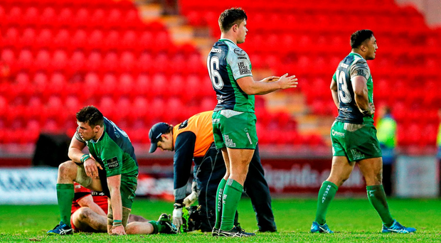 Dejected Connacht players after their narrow defeat to Scarlets in the Pro12 last weekend (SPORTSFILE)