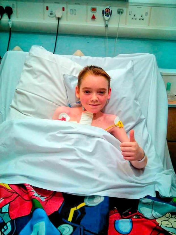 Aaron O'Leary (12) from Ballinhassig, Co Cork, who returned from hospital in the UK after a double lung transplant
