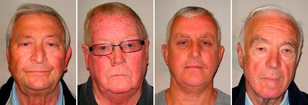 A combination of custody images released by the Metropolitan Police Service (MPS) on January 14, 2016 shows (L-R) Terry Perkins, John Collins, Daniel Jones and Brian Reader who all pleaded guilty to conspiracy to commit burglary over the raid at Hatton Garden Safety Deposit in April 2015