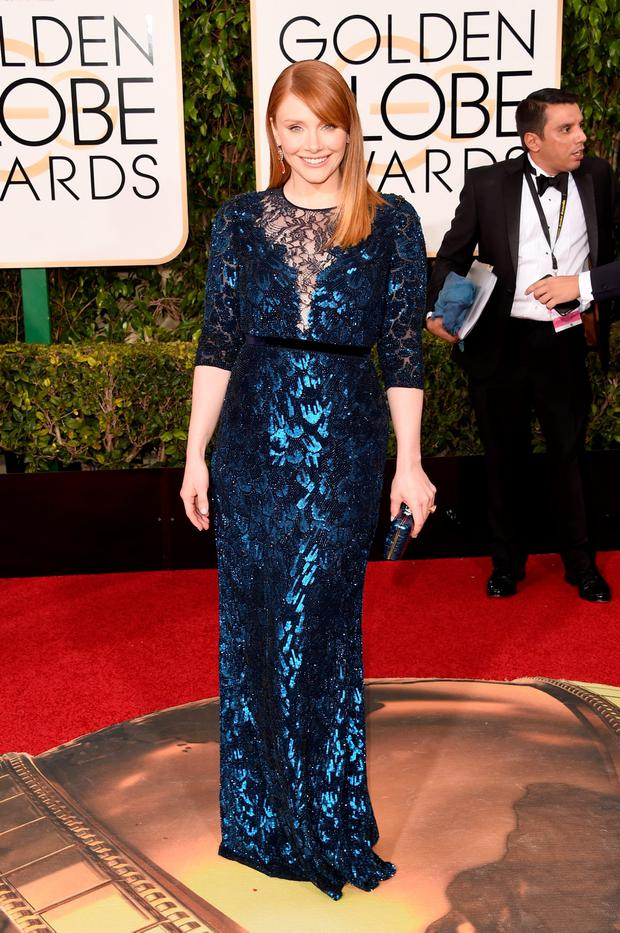 Actress Bryce Dallas Howard attends the 73rd Annual Golden Globe Awards held at the Beverly Hilton Hotel on January 10, 2016 in Beverly Hills, California. (Photo by Jason Merritt/Getty Images)