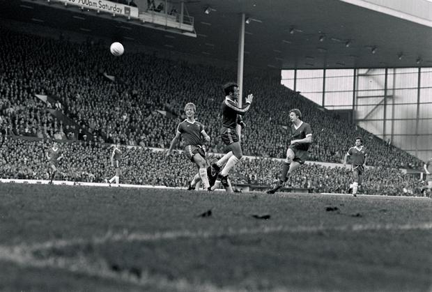 Liverpool's David Fairclough powers in a superb shot (but not goal this time) during the league division one match between Liverpool and Chelsea at Anfield on October 8, 1977 in Liverpool, England. (Photo by Steve Hale/Liverpool FC via Getty Images)