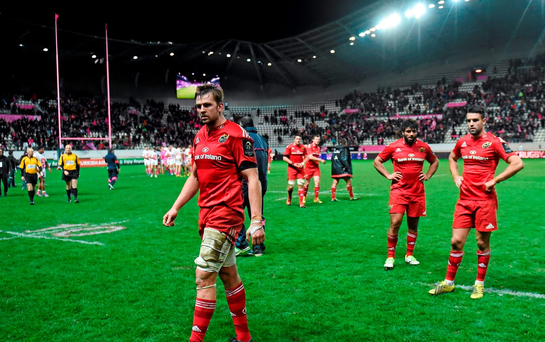 Munster players including Dave Foley, Conor Murray and Mario Sagario following their side's defeat. European Rugby Champions Cup, Pool 4, Round 2 Refixture, Stade Francais Paris v Munster, Stade Jean Bouin, Paris, France. Picture credit: Ramsey Cardy / SPORTSFILE