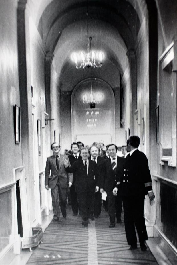 Charlie Haughey with Fianna Fail deputies and PJ Mara (left) make their to the press conference in Government Buildings following his election as Fianna Fail leader in 1979 .Pic Tom Burke