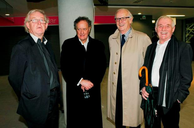 Colm Mc Carthy,Vincent Brown,PJ Mara and Eamon Dunphy at John Giles Book launch in the AVIVA Stadium in 2010