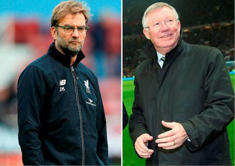 Jurgen Klopp and (right) Alex Ferguson