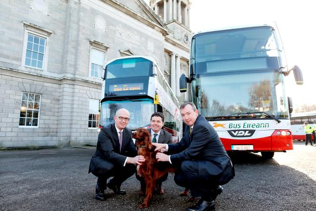 Pic shows ( l to r ) Tim Gaston, Director of Public Transport Services, National Transport Authority, Minister for Transport, Tourism & Sport, Paschal Donohoe TD, Martin Nolan, CEO Bus Éireann and Teelin the dog. Credit: MAXWELLPHOTOGRAPHY.IE