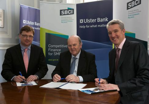 """BUSINESS 14th Jan 2016 no fee for repro """"Strategic Banking Corporation of Ireland CEO Nick Ashmore, Minister for Finance Michael Noonan T.D. and Ulster Bank Managing Director of Commercial Banking Division Eddie Cullen pictured today as Ulster Bank and the SBCI announce €75 million of new funding for SMEs."""" Picture by Shane O'Neill Photography."""