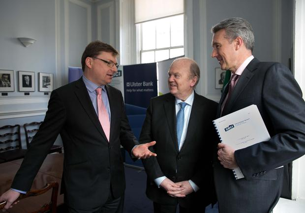 "BUSINESS 14th Jan 2016 no fee for repro ""Strategic Banking Corporation of Ireland CEO Nick Ashmore, Minister for Finance Michael Noonan T.D. and Ulster Bank Managing Director of Commercial Banking Division Eddie Cullen pictured today as Ulster Bank and the SBCI announce €75 million of new funding for SMEs."" Picture by Shane O'Neill Photography."