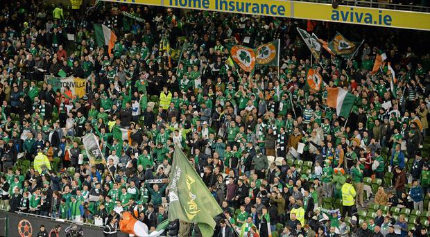 Republic of Ireland supporters celebrate Euro 2016 qualification after defating Bosnia in the play-offs
