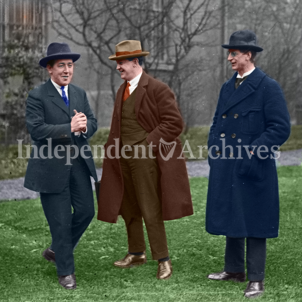 Left to right: Harry Boland, Michael Collins and Eamon de Valera, possibly during 1921 Truce.