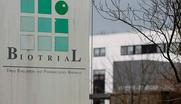 A logo is seen on a sign in front of the entrance of the Biotrial laboratory building in Rennes, France. Reuters/Stephane Mahe