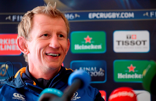 Leinster coach Leo Cullen during a press conference (SPORTSFILE)